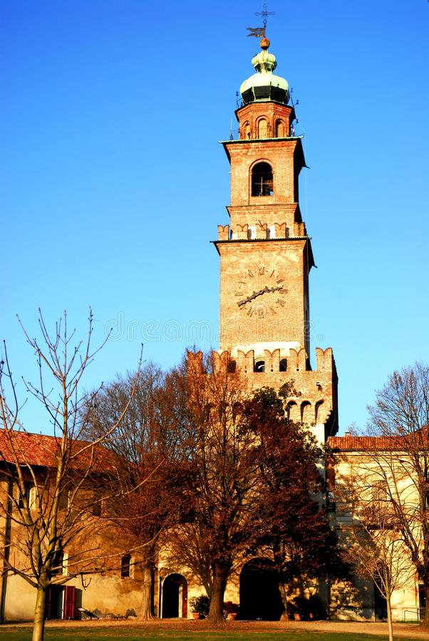 Free Corner Tower And Bell Tower In The Courtyard Of The Castle Of Vigevano Near Pavia In Lombardy (Italy) Royalty Free Stock Photos - 64545398