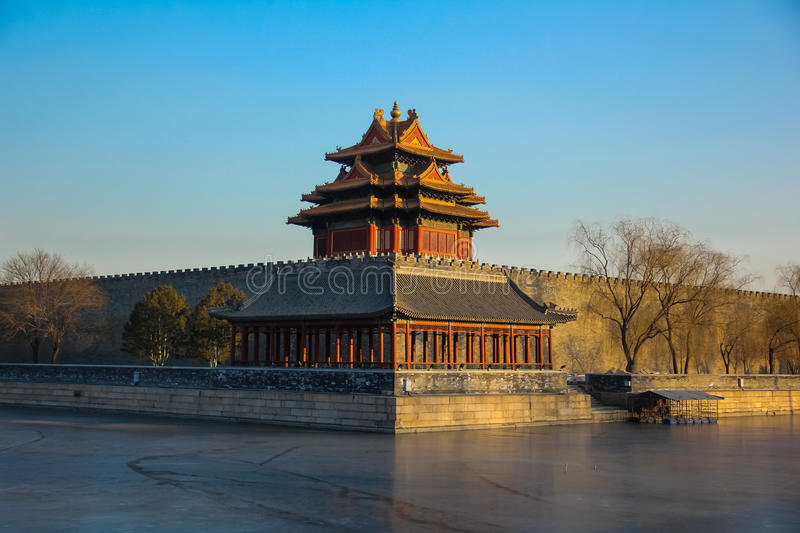Corner tower of forbidden city,Beijing, China stock photography