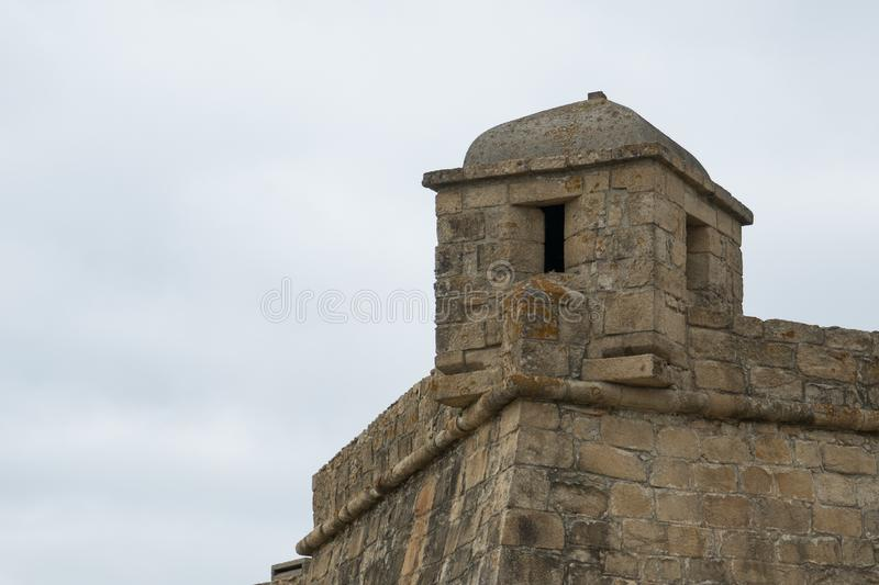 Corner turret of historic 17th century stone fort in Vila do Conde, Portugal. Fort of John the Baptist / Joao Batista royalty free stock photography