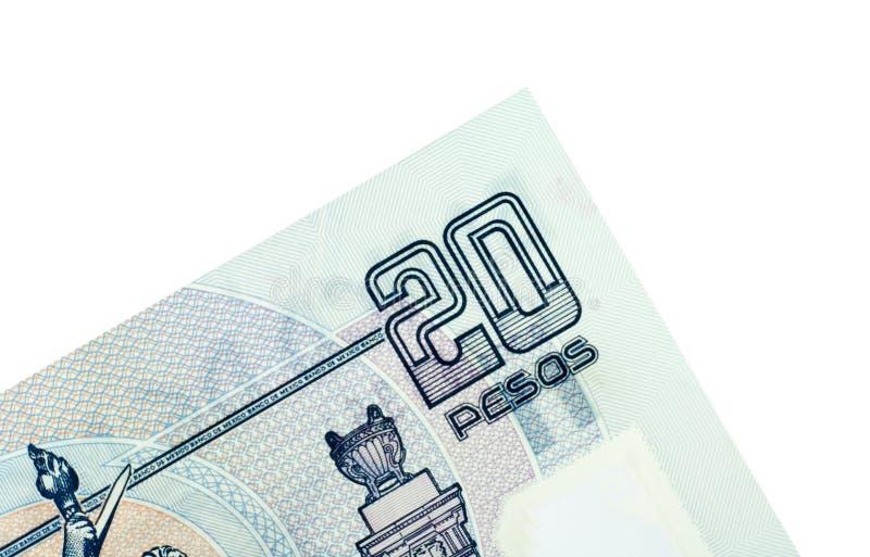 Corner Of Twenty Mexican Pesos Royalty Free Stock Photo
