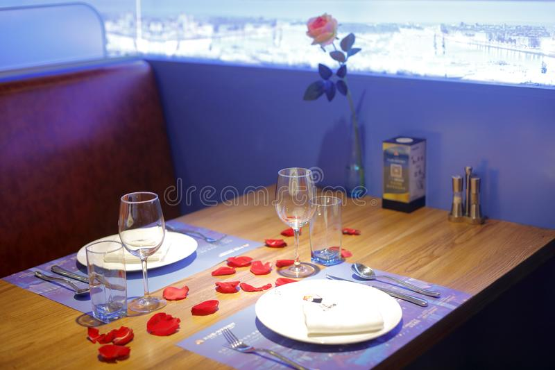 Table of Hungarian restaurant, adobe rgb. Corner of ungarian restaurant in zhonghuacheng mall, xiamen city, china. there are tableware, wine glasses, plates stock image
