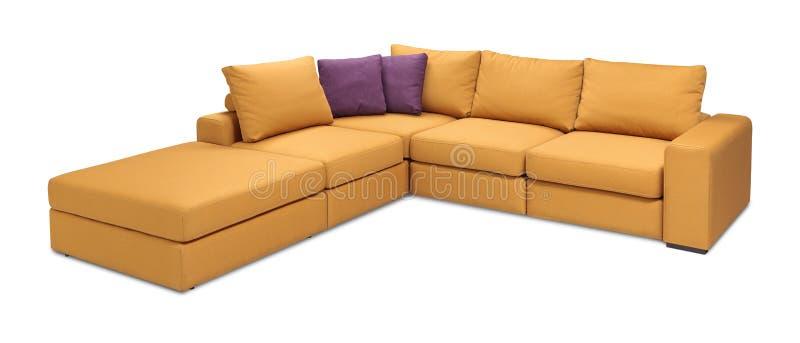 Corner upholstery sofa set with pillows isolated with clipping path. Upholstery sofa corner set with pillows isolated on white background with clipping path stock photo