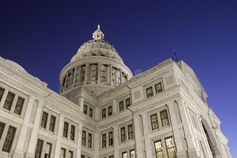 Corner view of Texas State Capitol at dawn stock photos