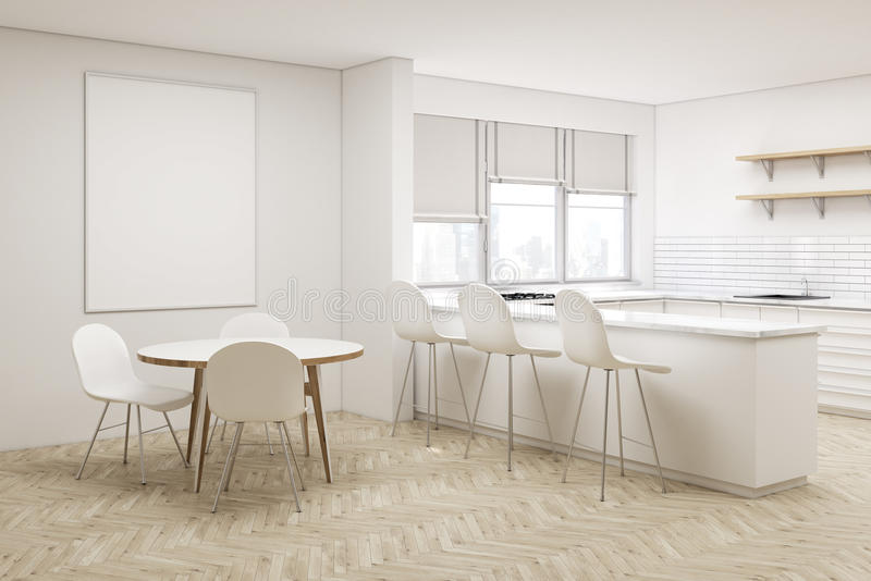 Corner of white kitchen with round table stock illustration