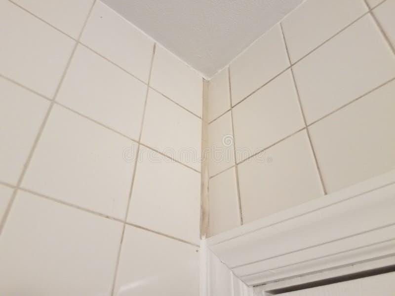 Corner In White Tile Bathroom With White Calk Stock Image - Image of ...