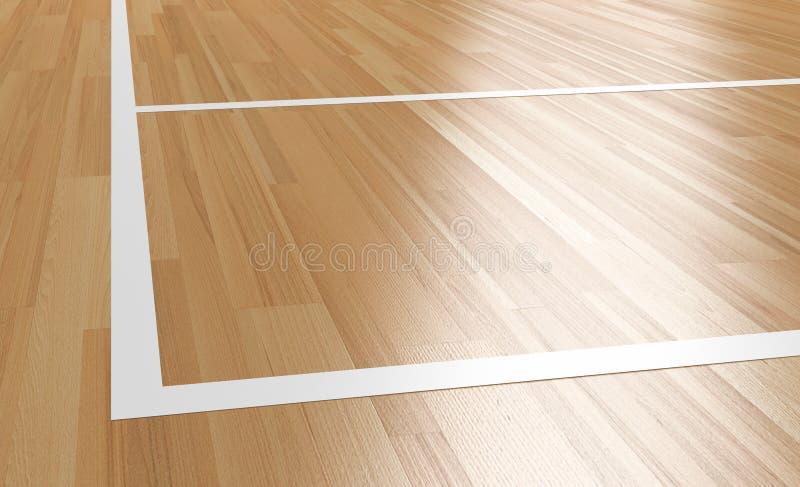 Corner of Wooden basketball Court 3D rendering. Corner of Wooden basketball Court with light reflection 3D rendering royalty free illustration