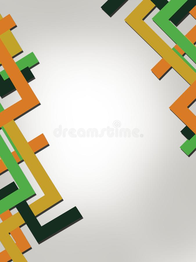 Cornered line overlap abstract background. Vertical creative background royalty free illustration