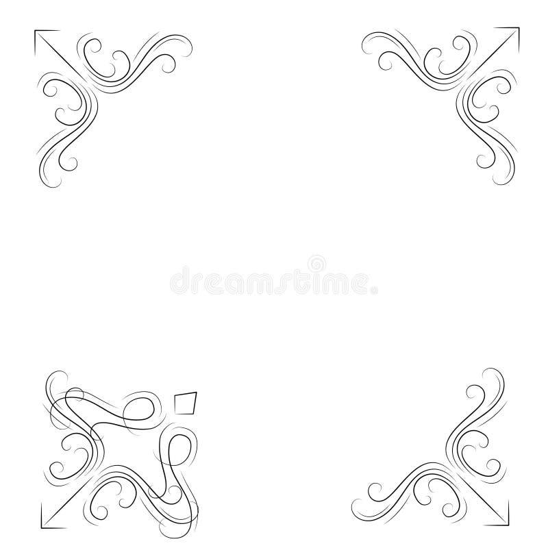 corners dekorativt Uppsättning för Swirly filigrangränser Utsmyckade krusidullhörn vektor royaltyfri illustrationer