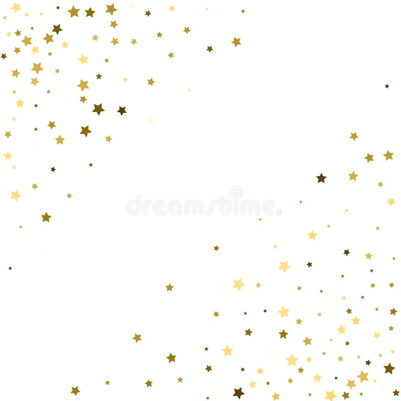 Corners frame, cosmic abstract vector pattern with gold star elements. Glitter confetti, shining sparkles background design on vector illustration