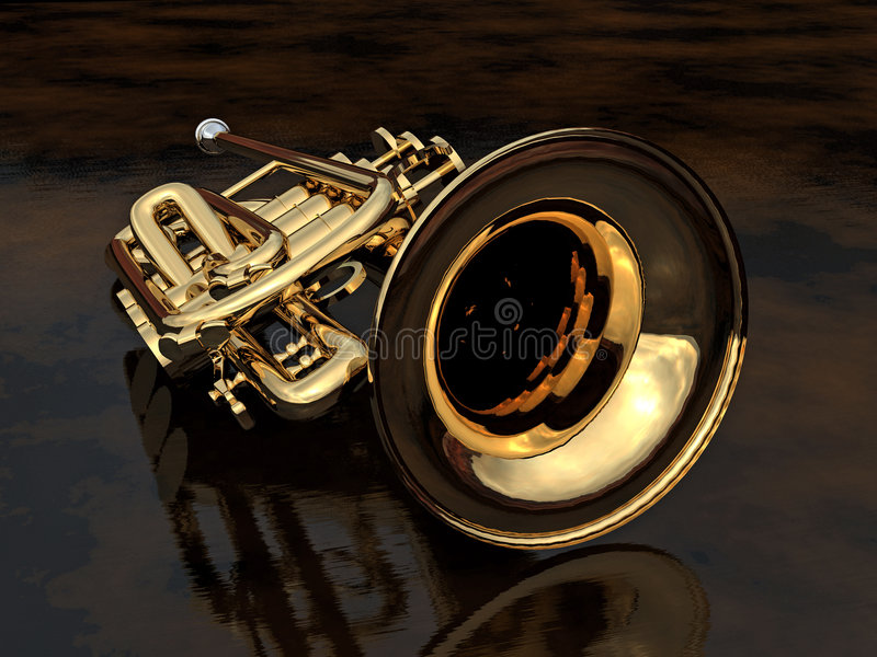 Cornet - 01. Brand new cornet, polished and waiting to be played on a satin finished, slightly reflective black surface royalty free illustration