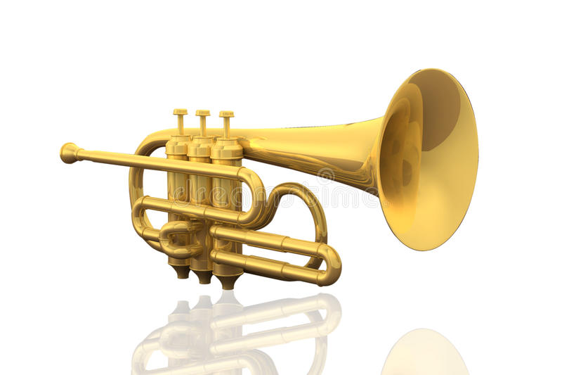 Cornet. A cornet isolated in white background stock illustration
