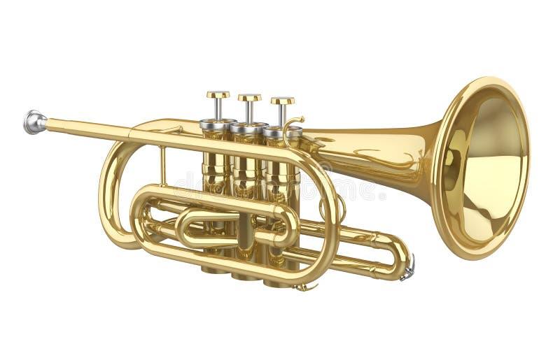 Cornet Brass Instrument Isolated. On white background. 3D render vector illustration