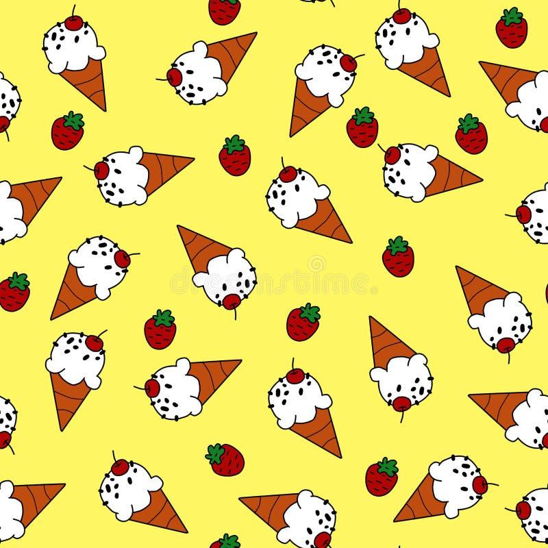 Cornet de crème glacée et fraise rouge sur le modèle sans couture de fond jaune pour l'emballage illustration stock