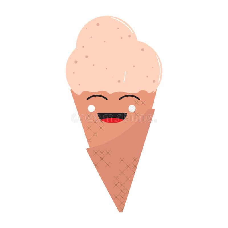 Cornet de crème glacée heureux illustration libre de droits