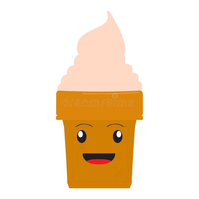 Cornet de crème glacée heureux illustration de vecteur