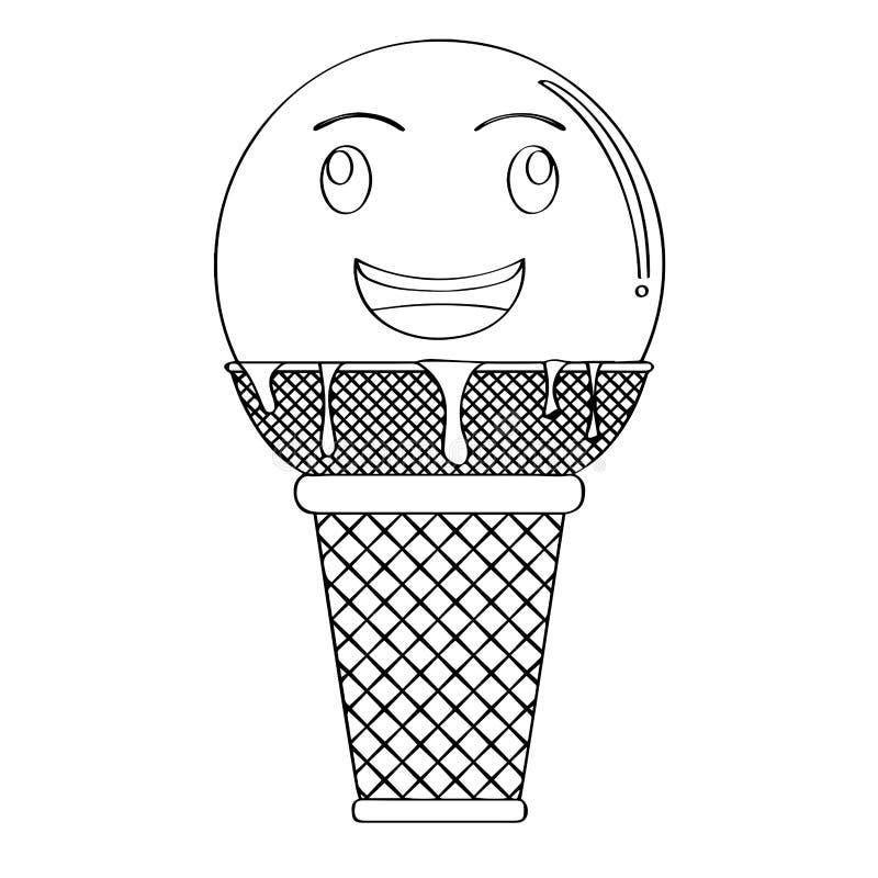 Cornet de crème glacée heureux illustration stock