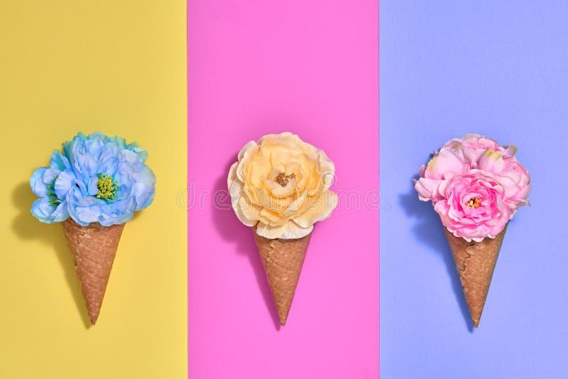 Cornet de crème glacée réglé avec des fleurs Mode minimale photos libres de droits