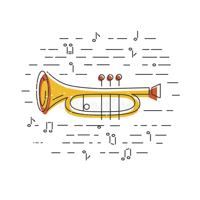 Cornet or horn icon isolated on background. Flat style. Vector illustration vector illustration