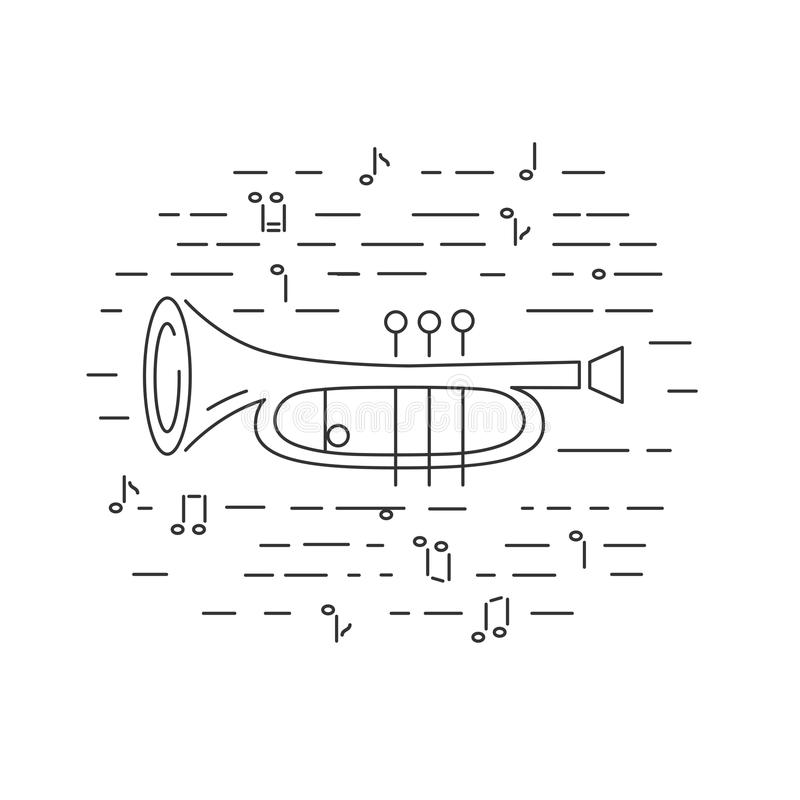 Cornet or horn icon isolated on background. Line style. Vector illustration royalty free illustration