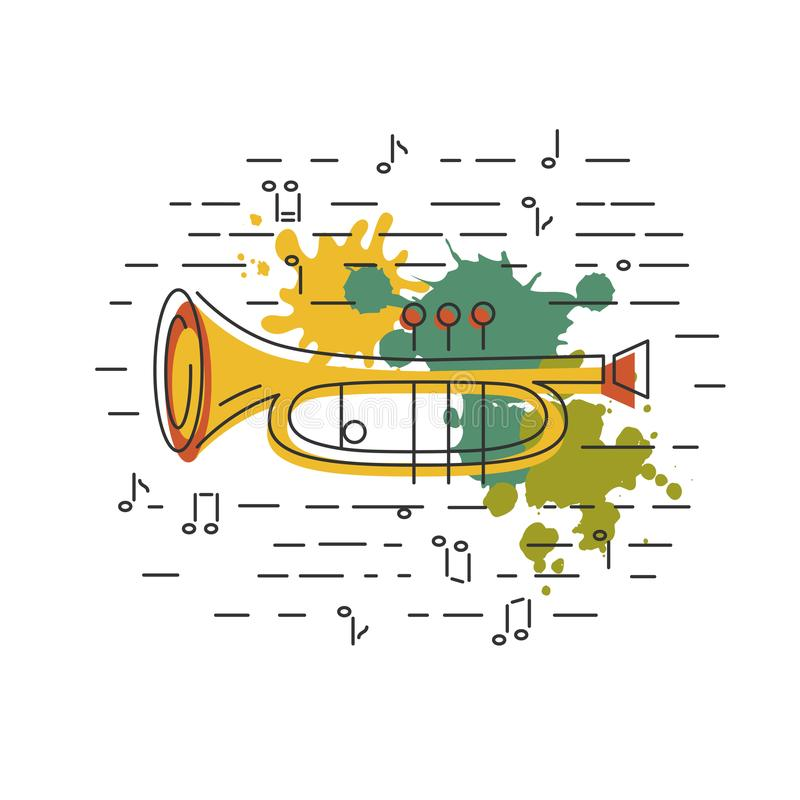 Cornet or horn icon isolated on background with painting splashes. Flat style. Vector illustration stock illustration