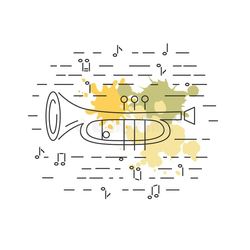 Cornet or horn icon isolated on background with painting splashes. Line style. Vector illustration stock illustration