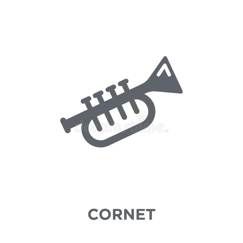 Cornet icon from Music collection. Cornet icon. cornet design concept from Music collection. Simple element vector illustration on white background stock illustration