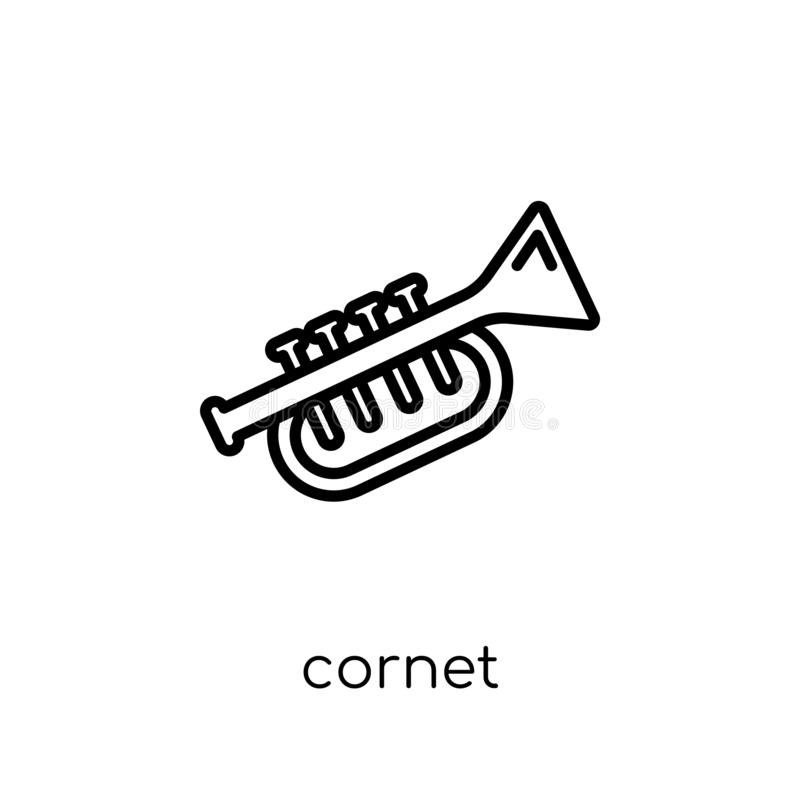 Cornet icon from Music collection. Cornet icon. Trendy modern flat linear vector cornet icon on white background from thin line Music collection, outline vector royalty free illustration