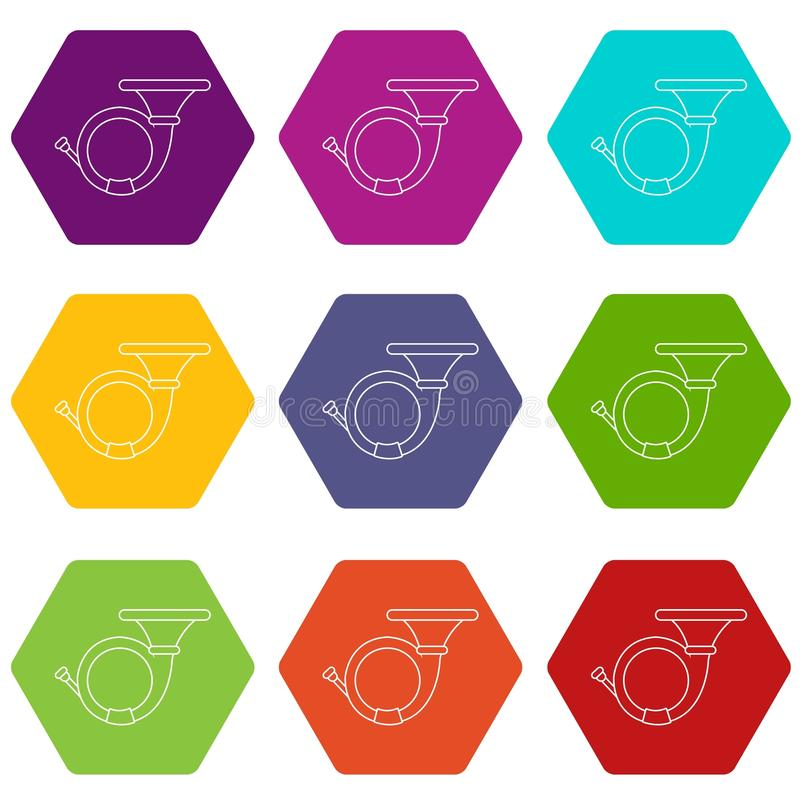Cornet icons set 9 vector. Cornet icons 9 set coloful isolated on white for web vector illustration