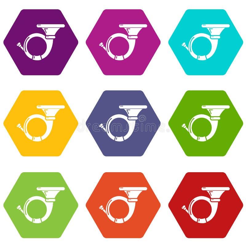 Cornet icons set 9 vector. Cornet icons 9 set coloful isolated on white for web stock illustration
