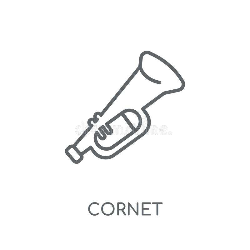 Cornet linear icon. Modern outline cornet logo concept on white. Background from Music collection. Suitable for use on web apps, mobile apps and print media stock illustration