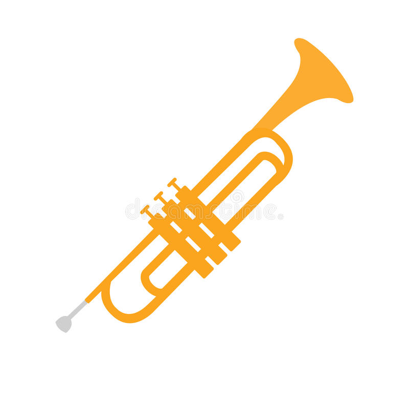 Cornet, Part Of Musical Instruments Set Of Realistic Cartoon Vector Isolated Illustrations. Music Orchestra Related Object , Simple Clipart Item In Bright royalty free illustration