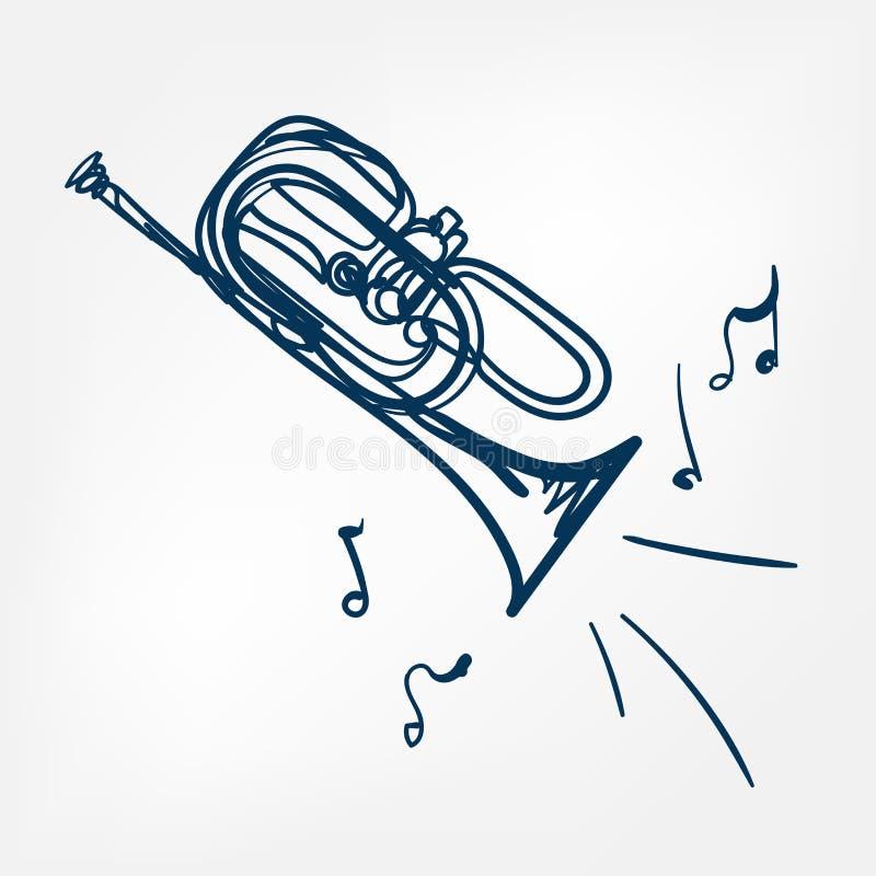 Cornet sketch line vector design outline blue. Cornet sketch line vector design isolated royalty free illustration