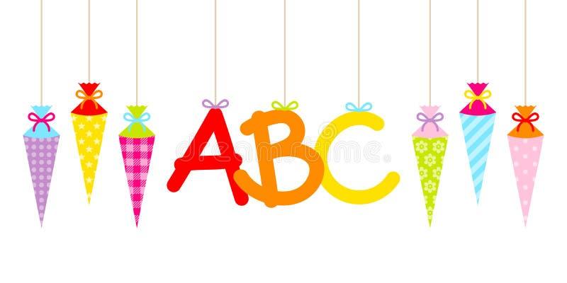 Cornets d'école et lettres colorés accrochants droits d'ABC illustration stock