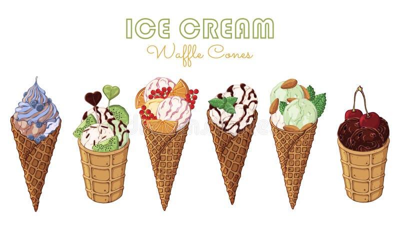 Cornets de crème glacée illustration stock