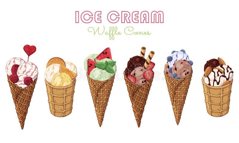 Cornets de crème glacée illustration de vecteur