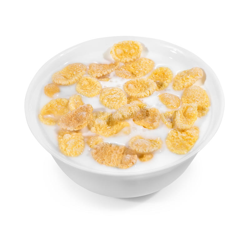 Cornflakes avec du yaourt dans la cuvette photo libre de droits