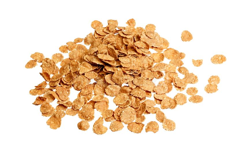 Cornflakes, cereal close up on white background stock photo