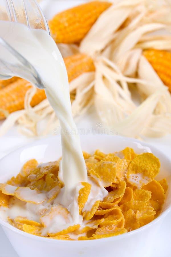 Cornflakes die voor ontbijt worden gediend royalty-vrije stock afbeelding