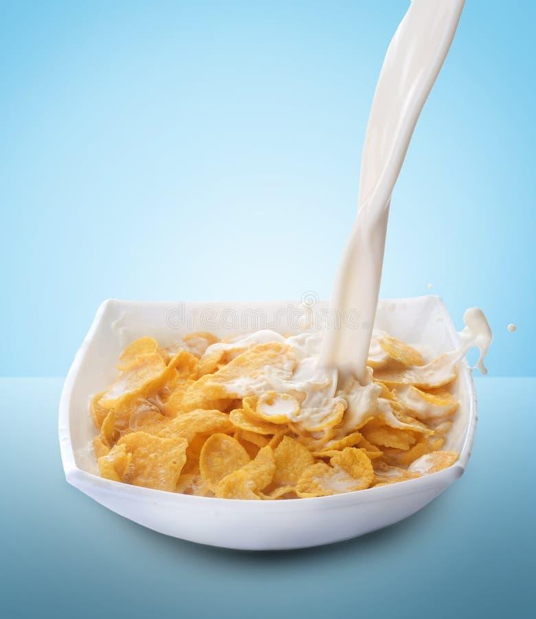 Cornflakes e respingo do leite imagens de stock