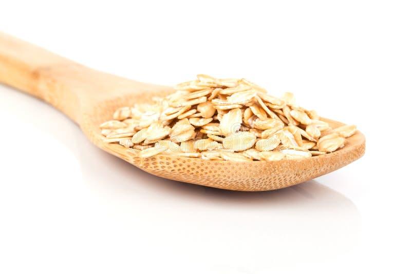 Cornflakes in houten lepel royalty-vrije stock foto's
