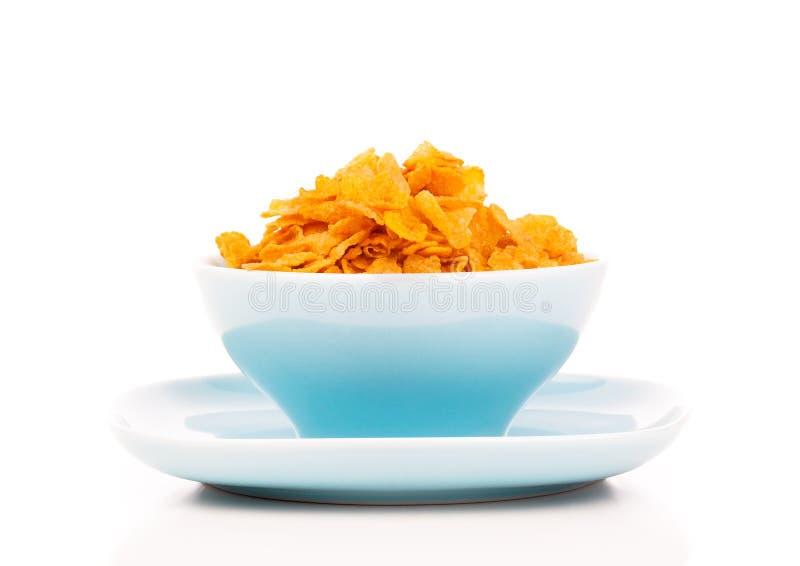 Cornflakes in porseleinkom royalty-vrije stock afbeelding