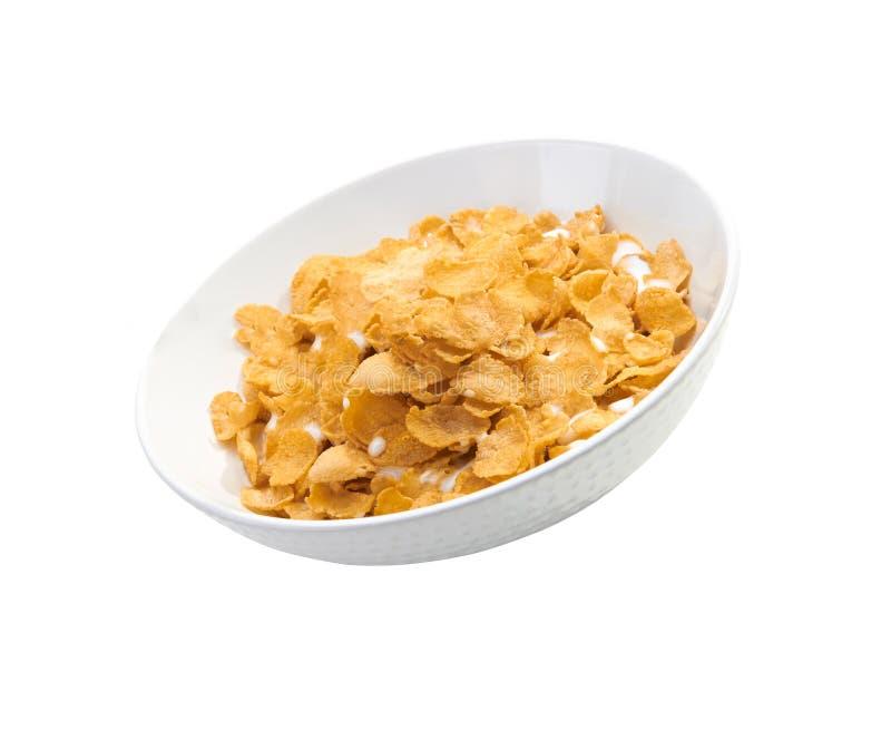 Cornflakes in porseleinkom stock fotografie