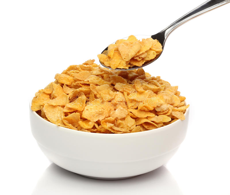 Download Cornflakes on a spoon stock photo. Image of breakfast - 22115884
