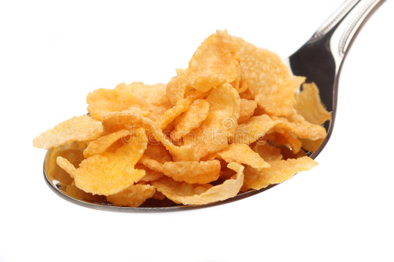 Download Cornflakes on a spoon stock image. Image of bakground - 22252873