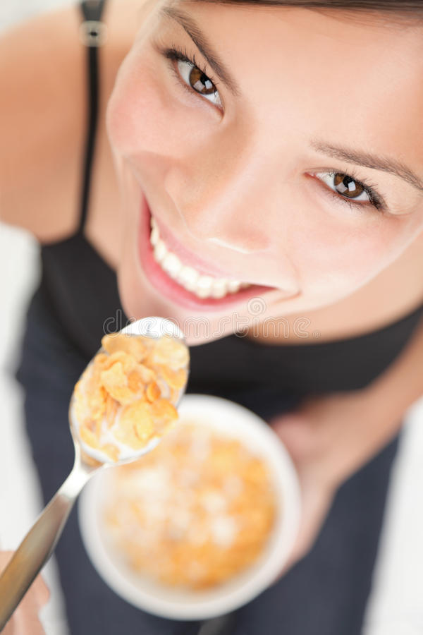 Download Cornflakes woman stock photo. Image of angle, cheerful - 15662288