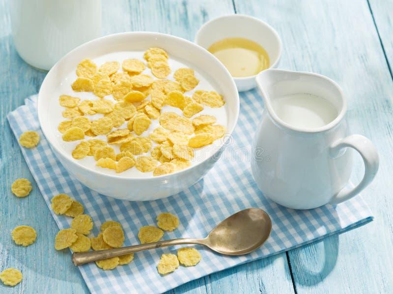 Download Cornflakes zboże i mleko zdjęcie stock. Obraz złożonej z łasowanie - 57652696