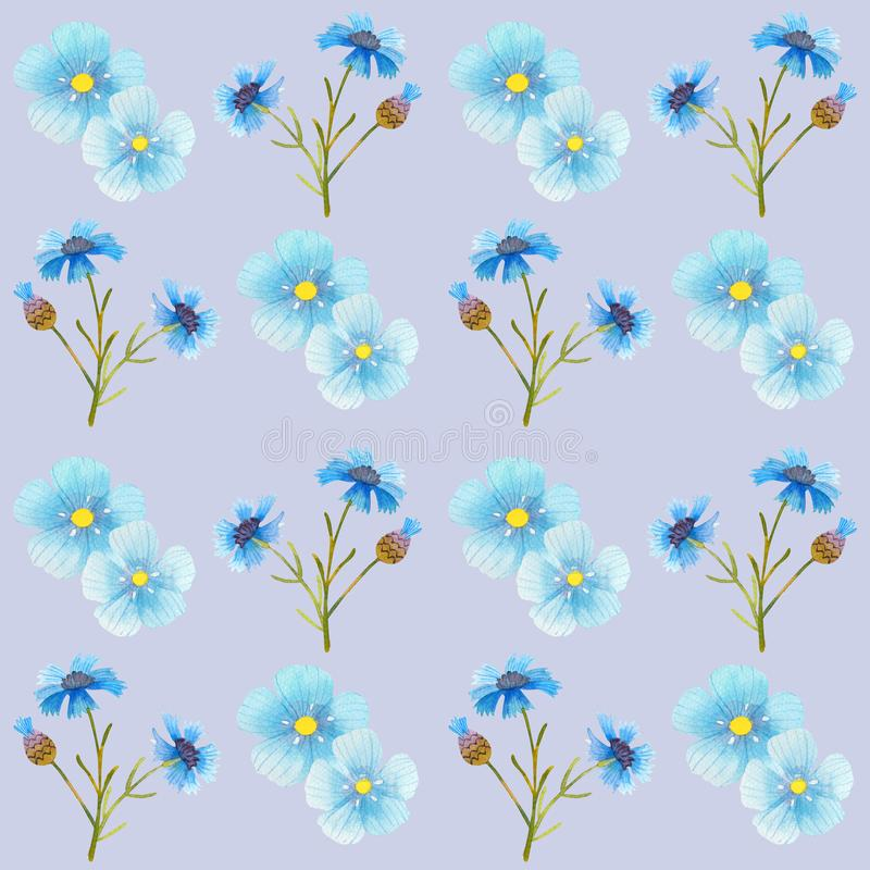 Cornflower blue flowers pattern watercolor illustration seamless stock illustration