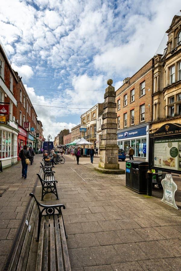Cornhill voetdie slechts straat in Cornhill, Dorchester wordt genomen, royalty-vrije stock afbeeldingen