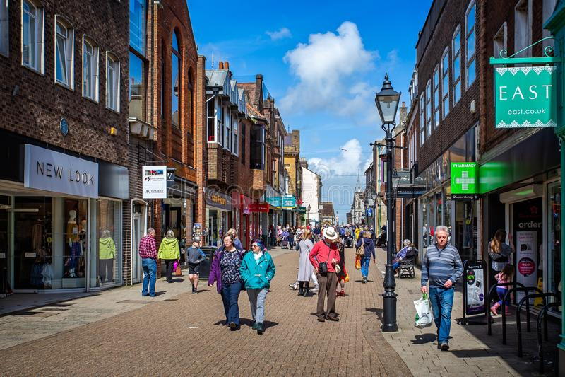 Cornhill voetdie slechts straat in Cornhill, Dorchester wordt genomen, stock afbeelding