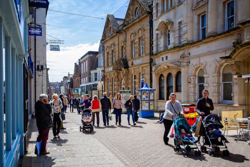Cornhill voetdie slechts straat in Cornhill, Dorchester wordt genomen stock afbeeldingen